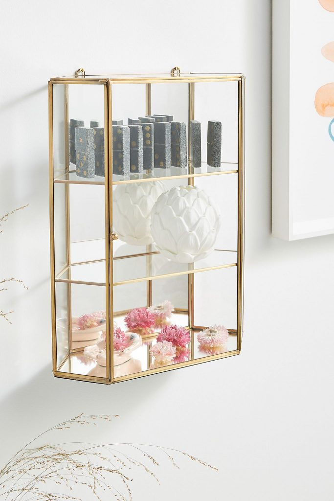 Gold & glass wall cabinet