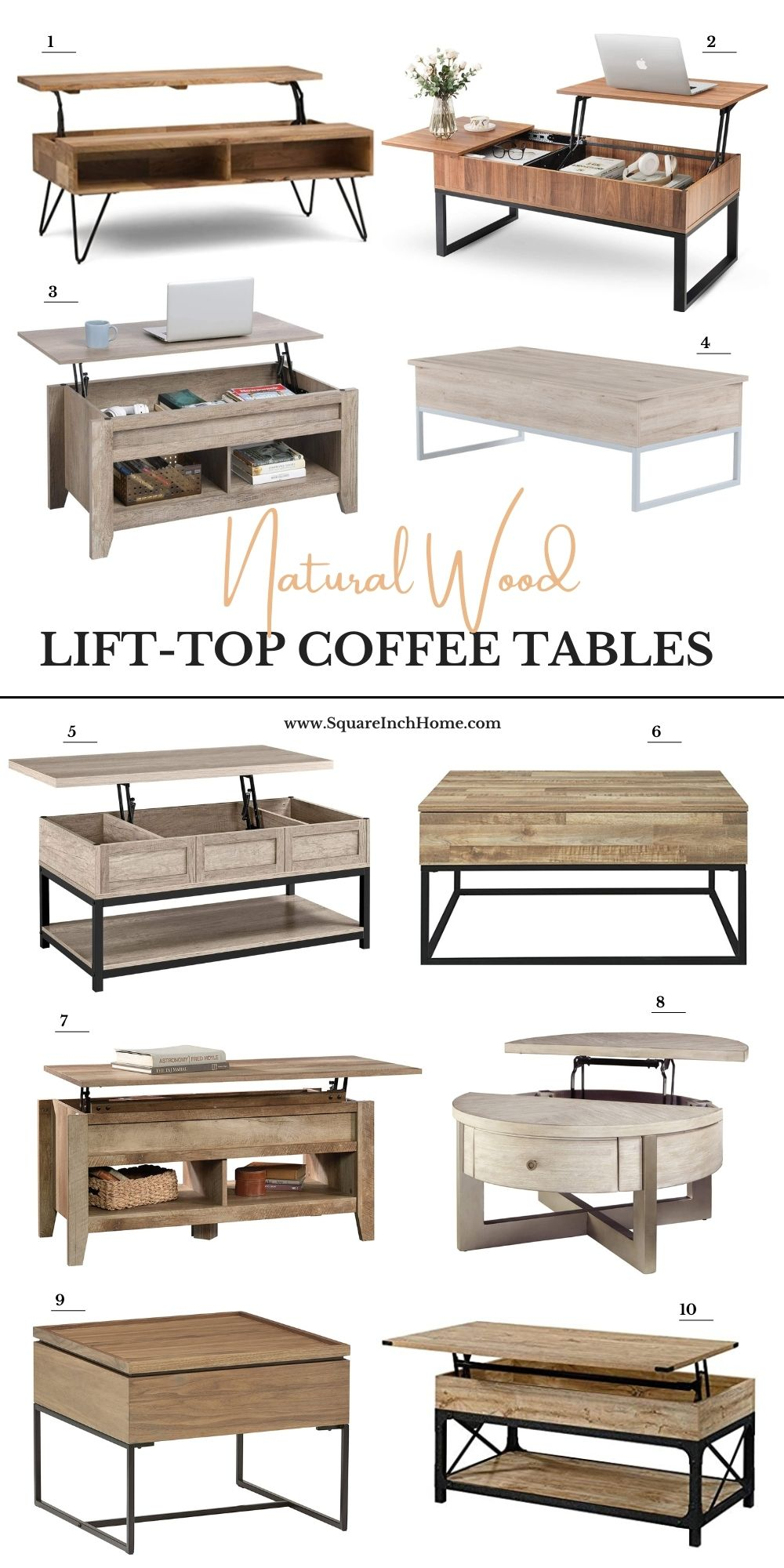 natural wood lift up coffee table with storage