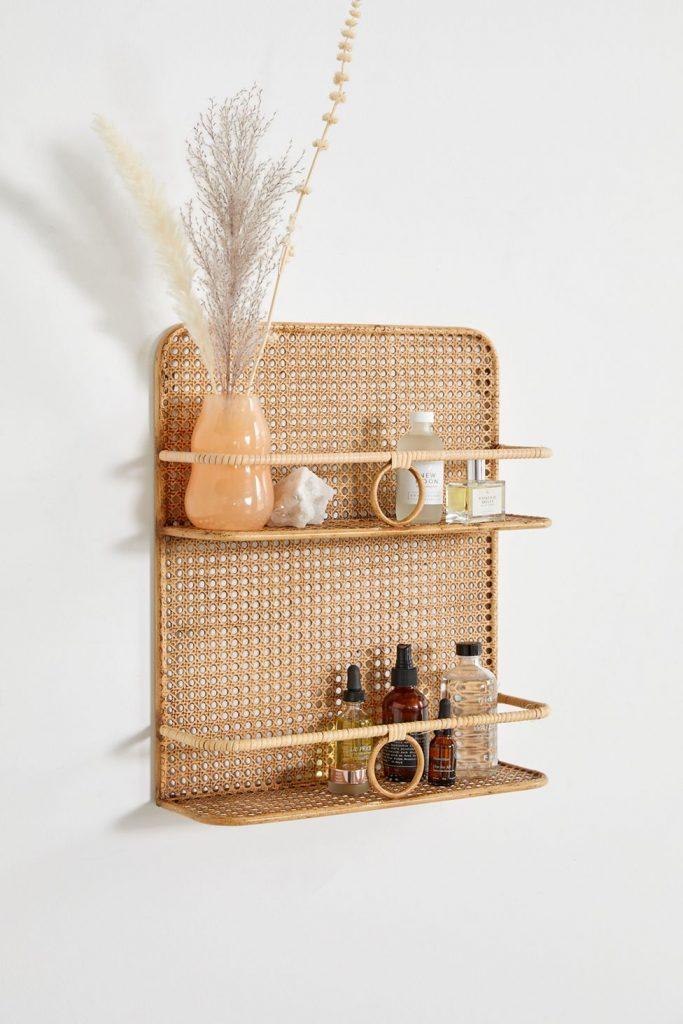 decorative rattan and wicker wall shelf