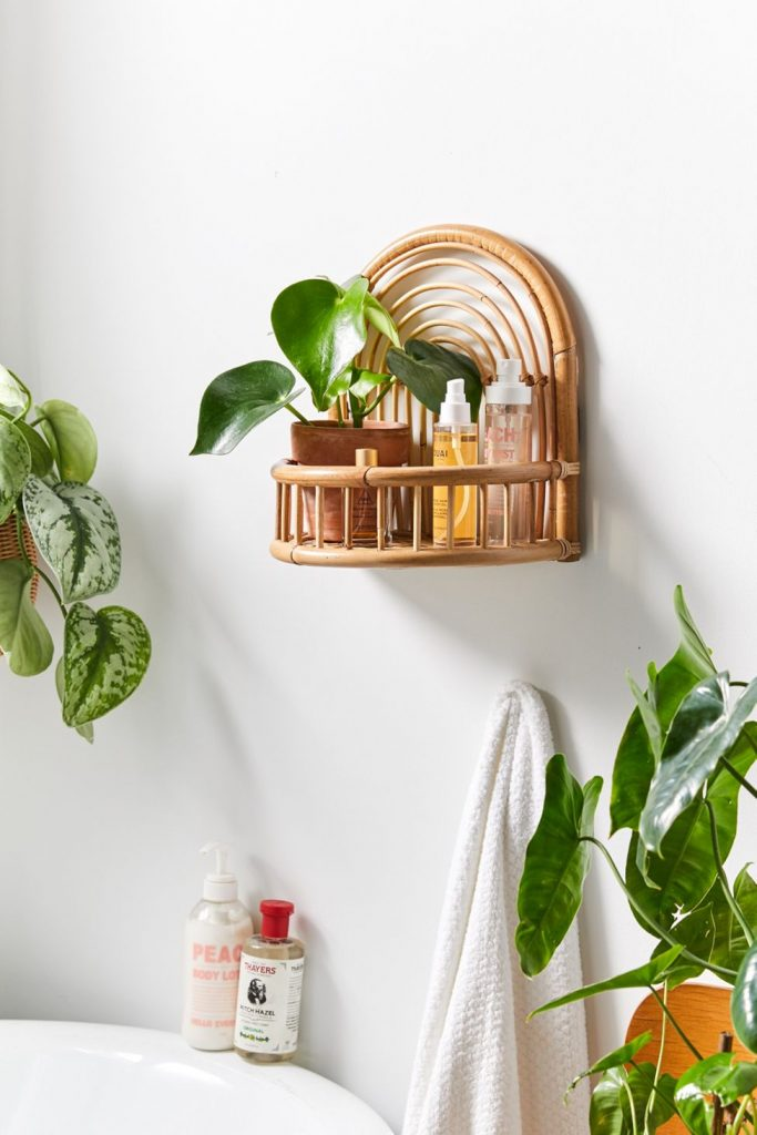rattan bathroom wall shelf