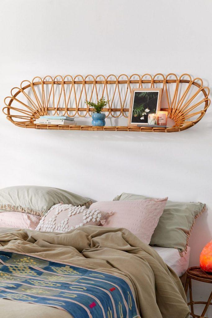 rattan headboard wall shelf