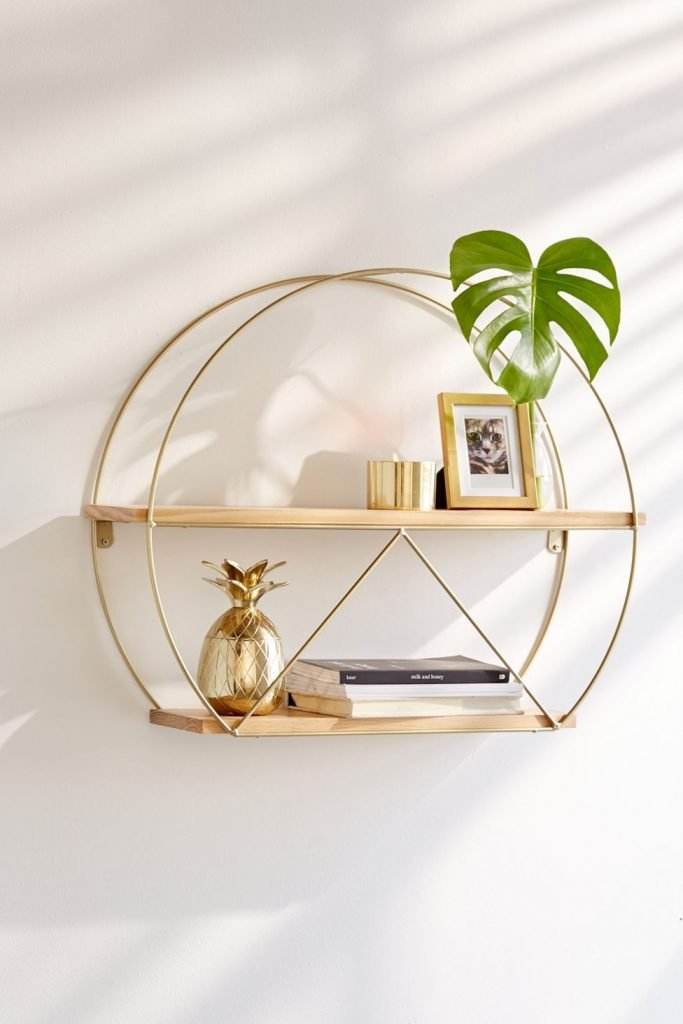 Round wood and gold decorative walll shelves