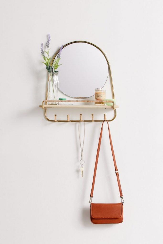 round mirror shelf with hooks
