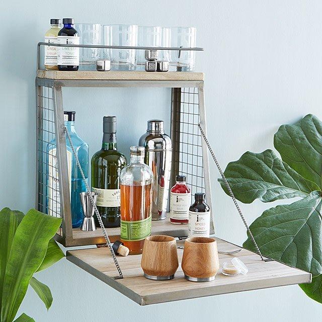wall mounted bar shelf