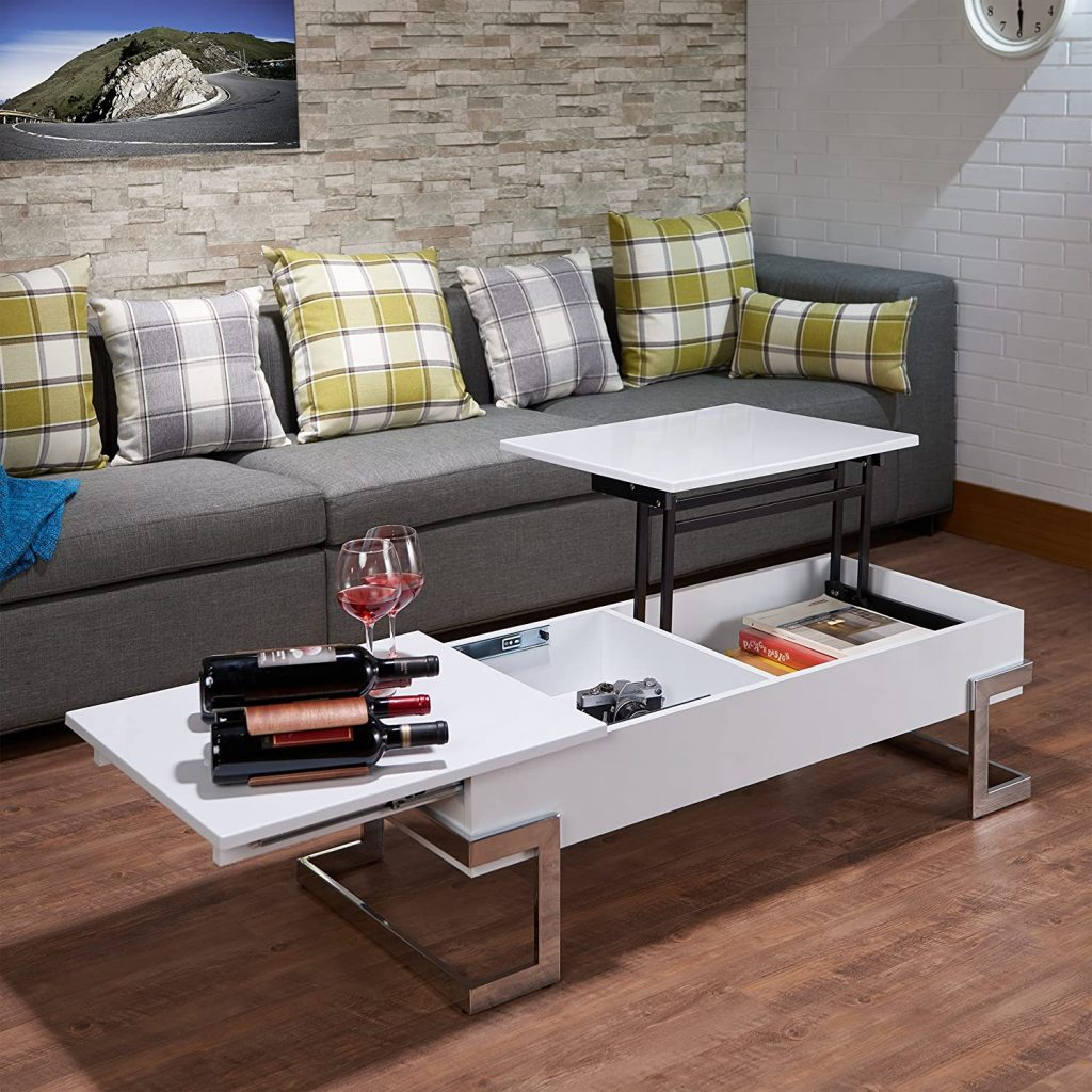 White and chrome small lift top coffee table