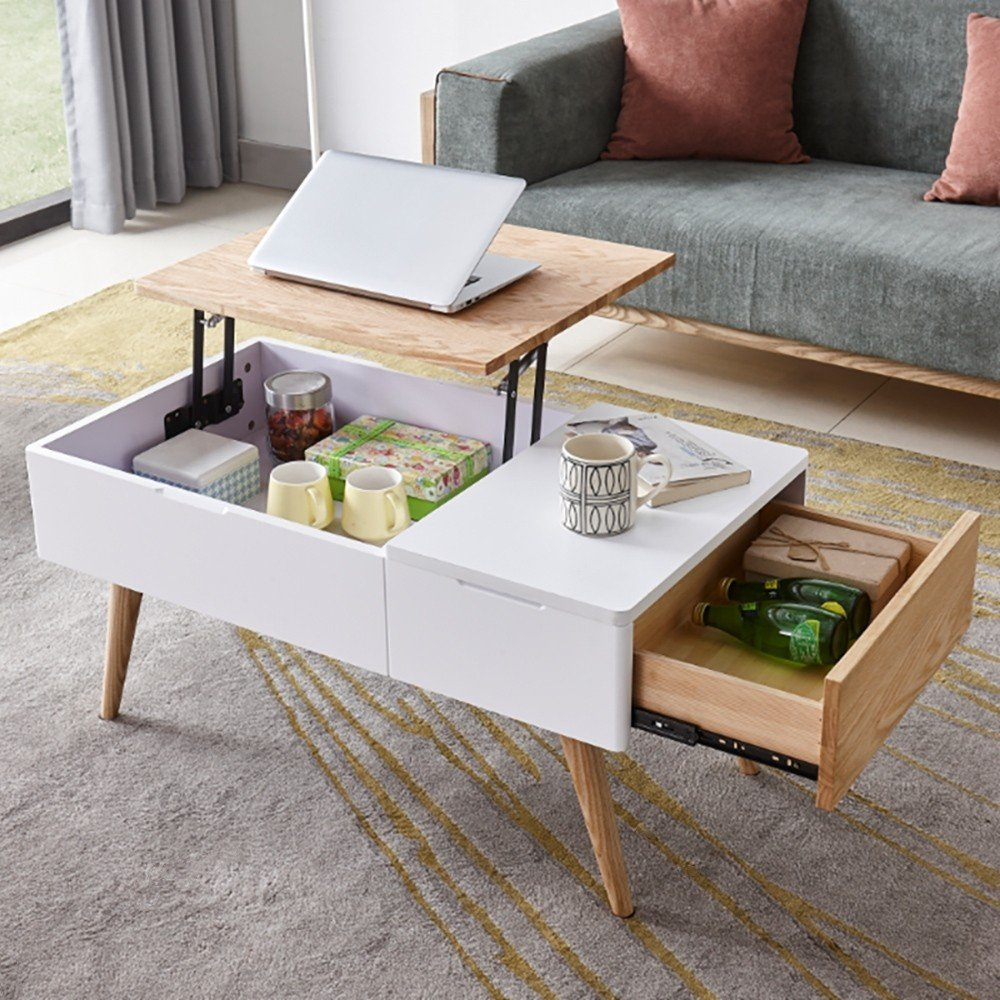 white and natural wood lift top coffee table with drawers