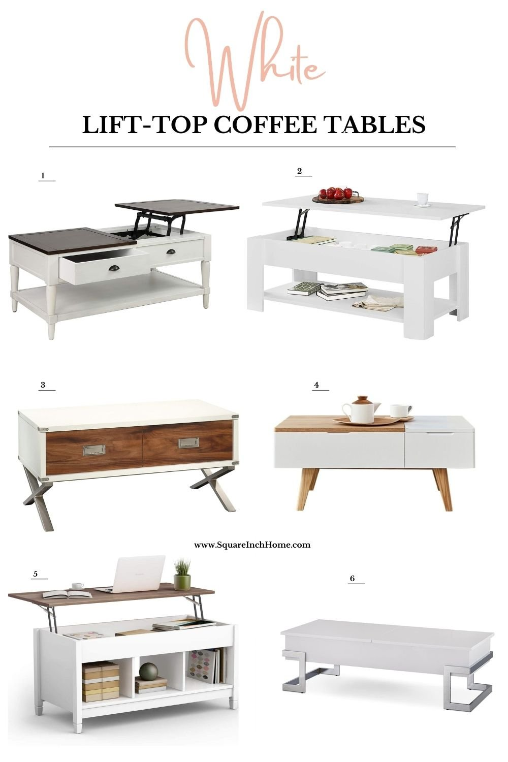 white lift top coffee table with storage