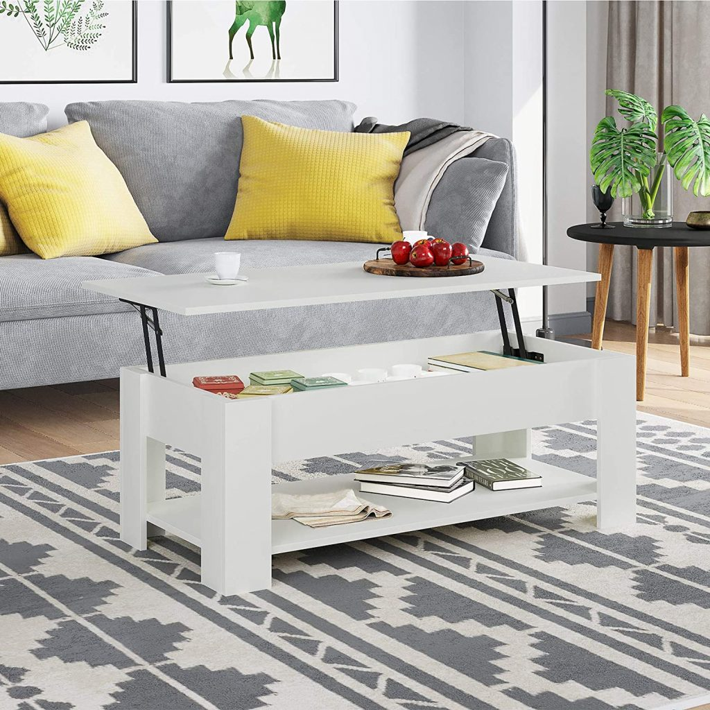 white lift top coffee table with shelf
