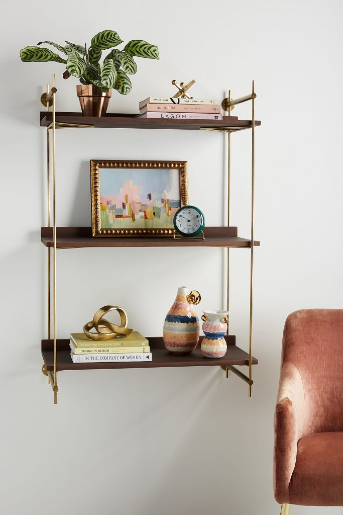 wood and brass decorative wall shelf