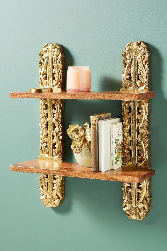 wood & gold decorative wall shelf