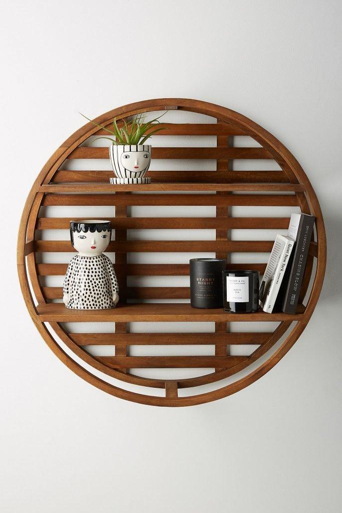 wooden wheel wall shelf storage