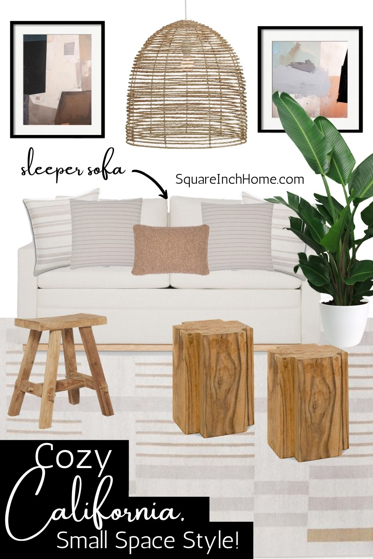 small california living room decor mood board