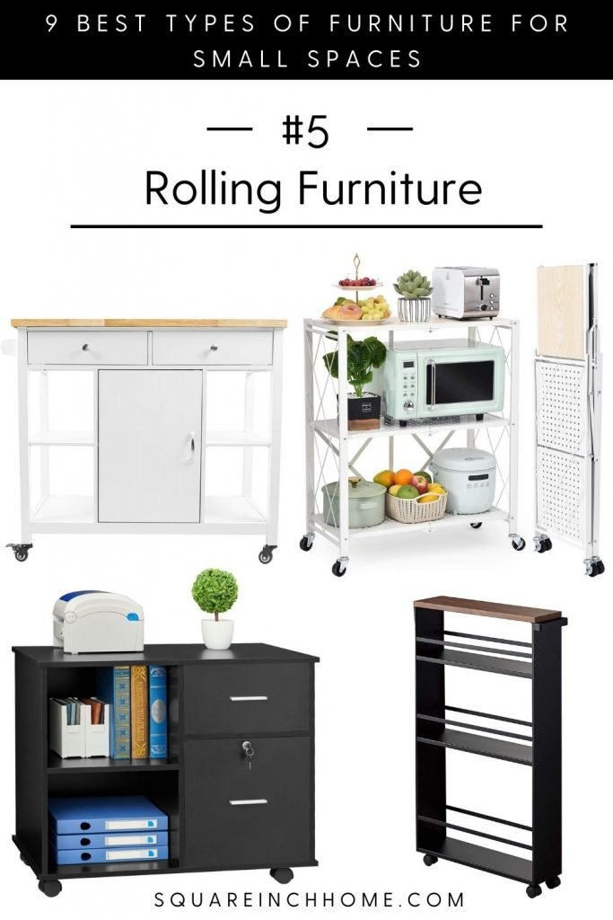 multifunctional rolling furniture for small spaces.