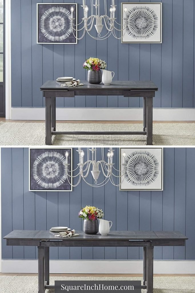 weathered gray extendable dining table