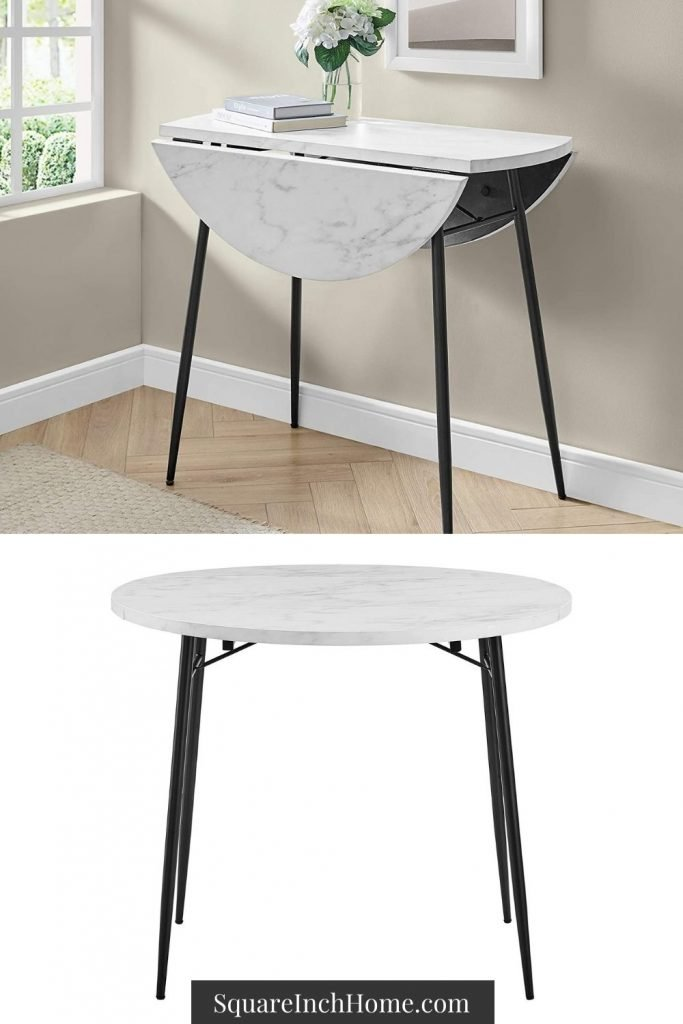 white marble drop leaf dining table for small spaces