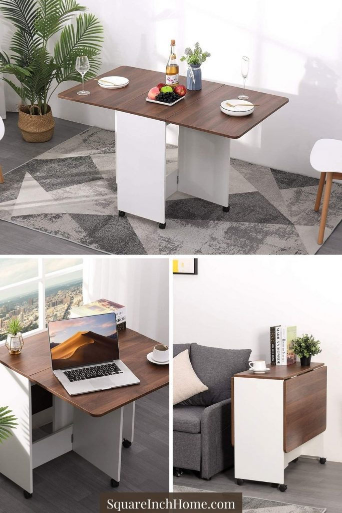 multifunctional expandable dining table with wheels