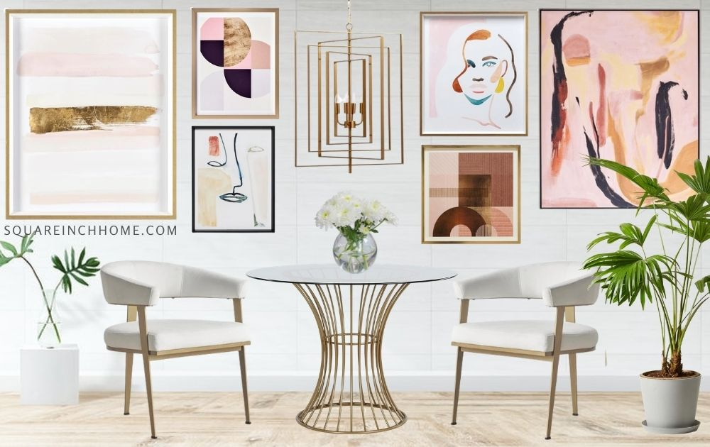 luxe gold and blush gallery wall dining room