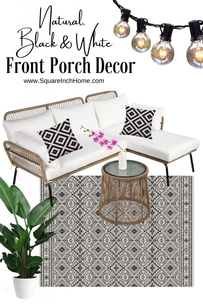 black and white front porch decor for small spaces