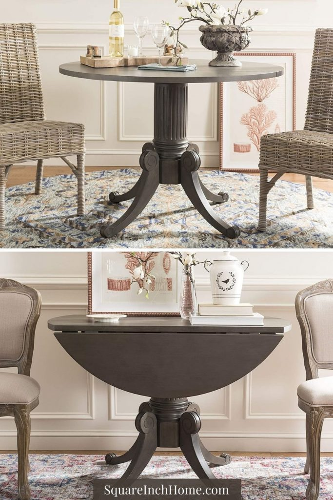 small traditional styled round drop-leaf dining table