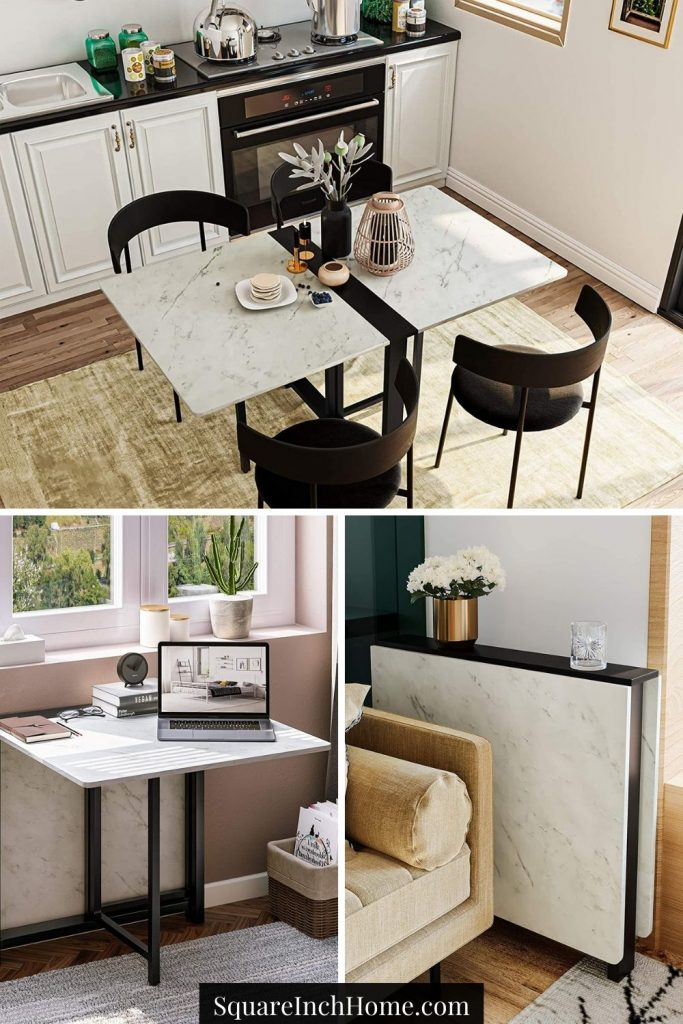 faux marble multipurpose folding dining table