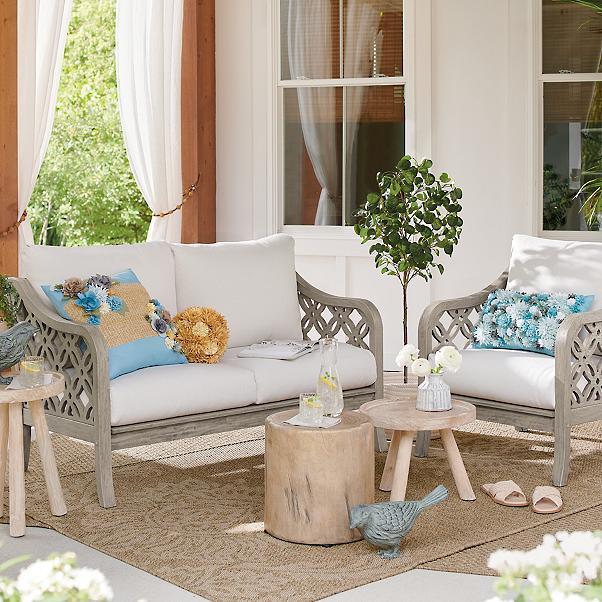 natural and gray small outdoor decor