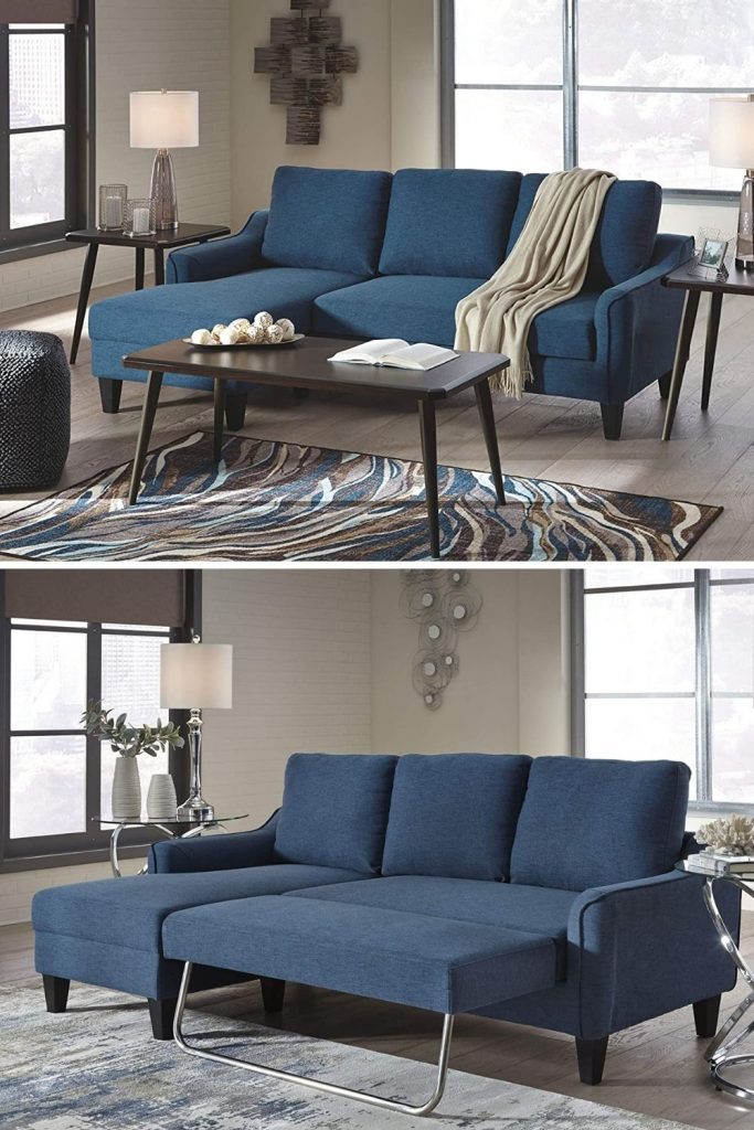 blue sectional sleeper sofa for small apartments