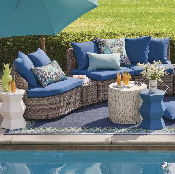 blue outdoor furniture and decor for small spaces