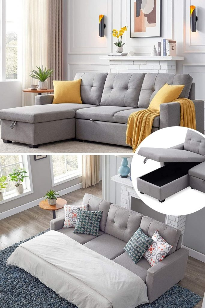 light gray sectional sleeper sofa for small spaces