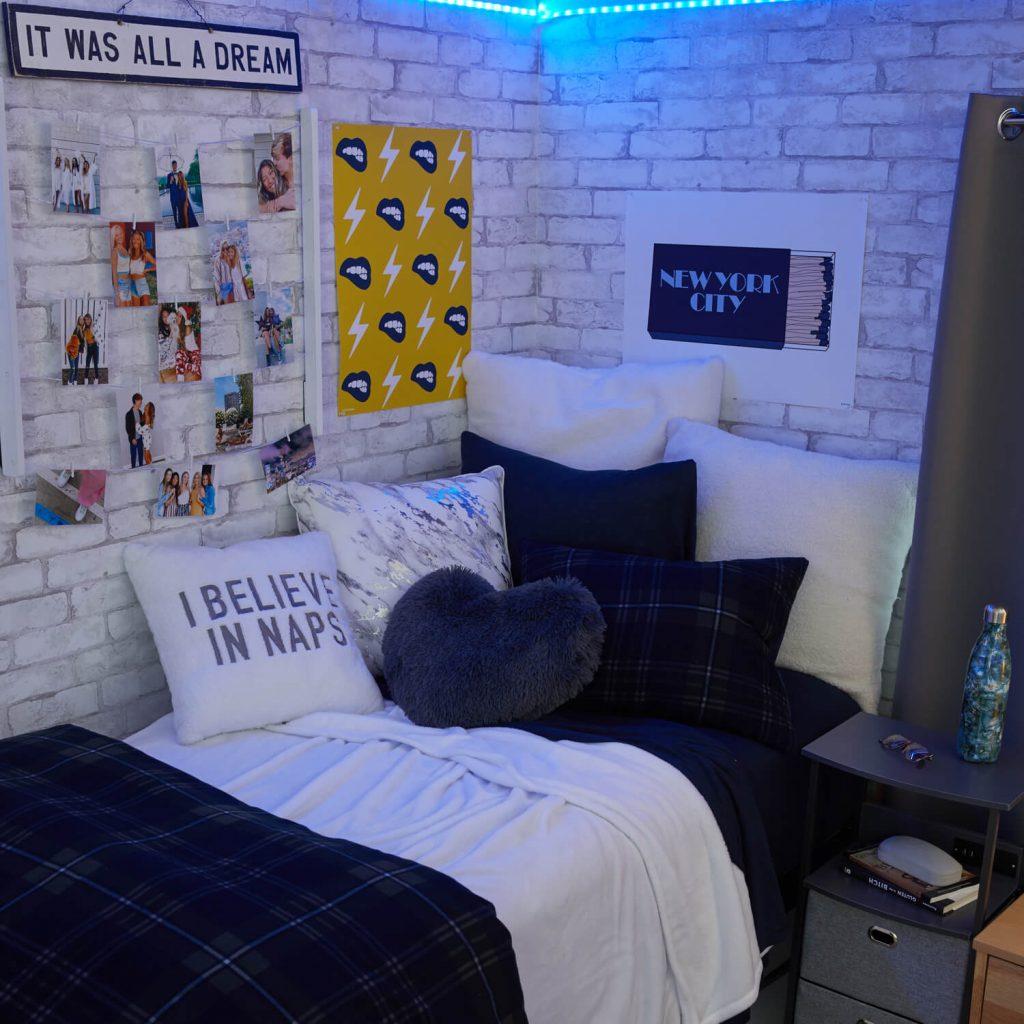 blue and white dorm room decor for girls