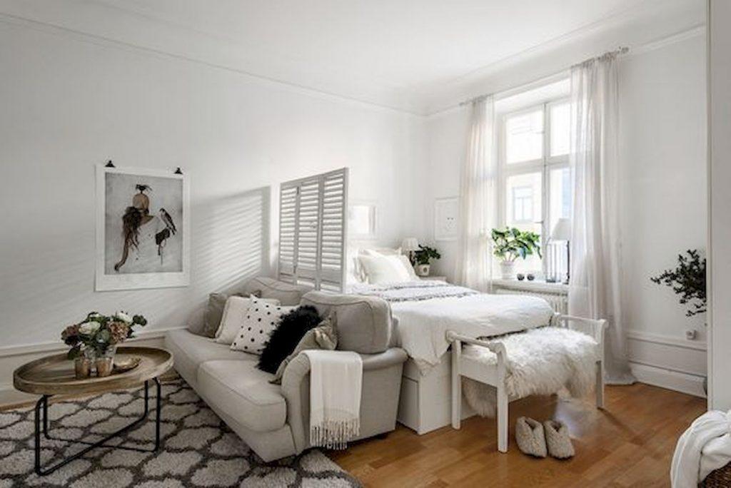 black and white studio apartment layout