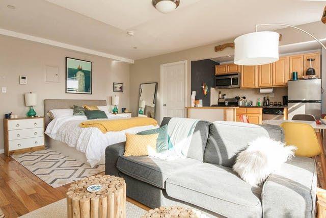 warm cozy studio apartment layout