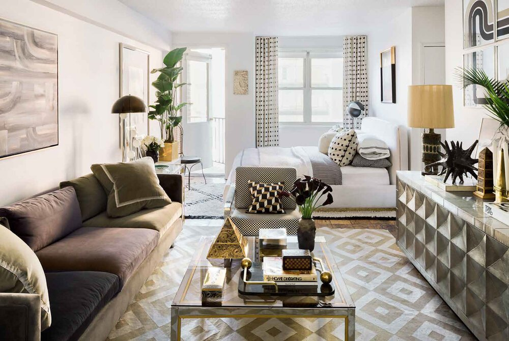 black and gold luxe studio apartment
