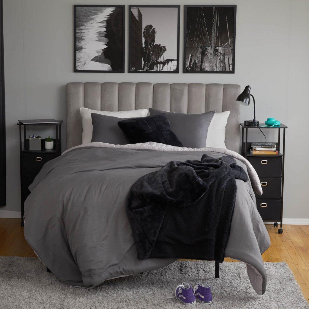 grey black and white dorm room