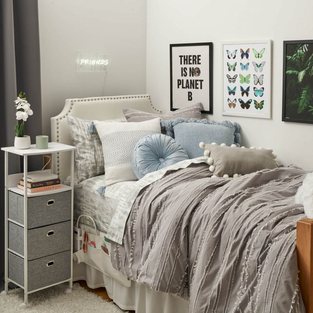 grey blue and white ivy league dorm room