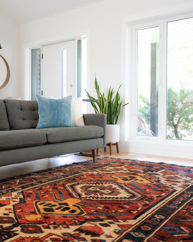 large rug in small living room
