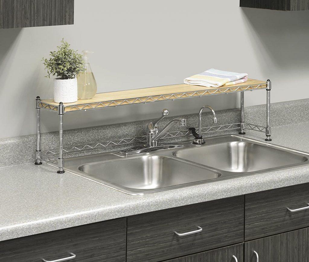slim over-the-sink kitchen shelf