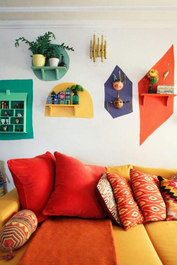 colorful color block shelves