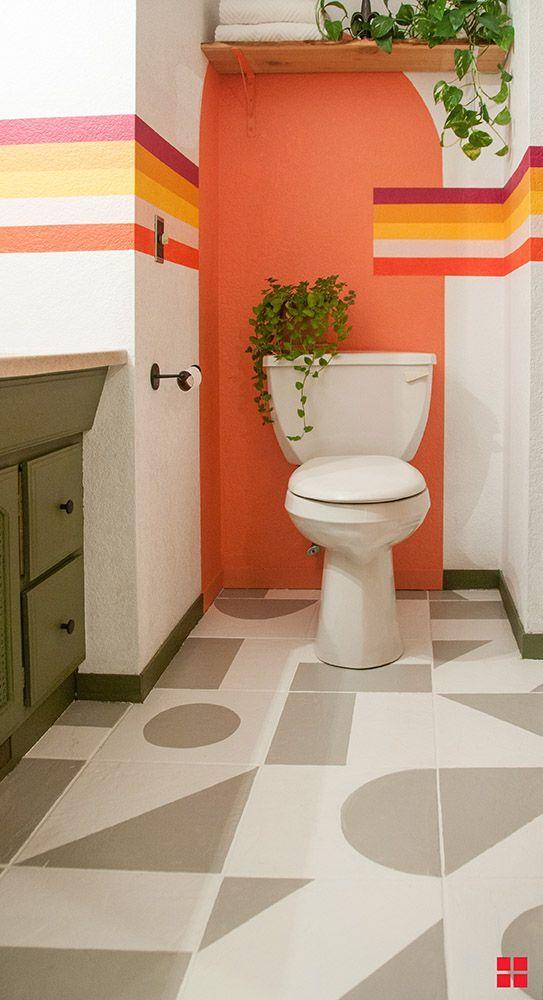 color blocking idea for bathroom