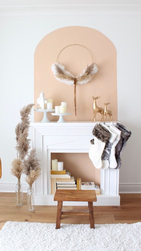 arched color block idea for fireplace