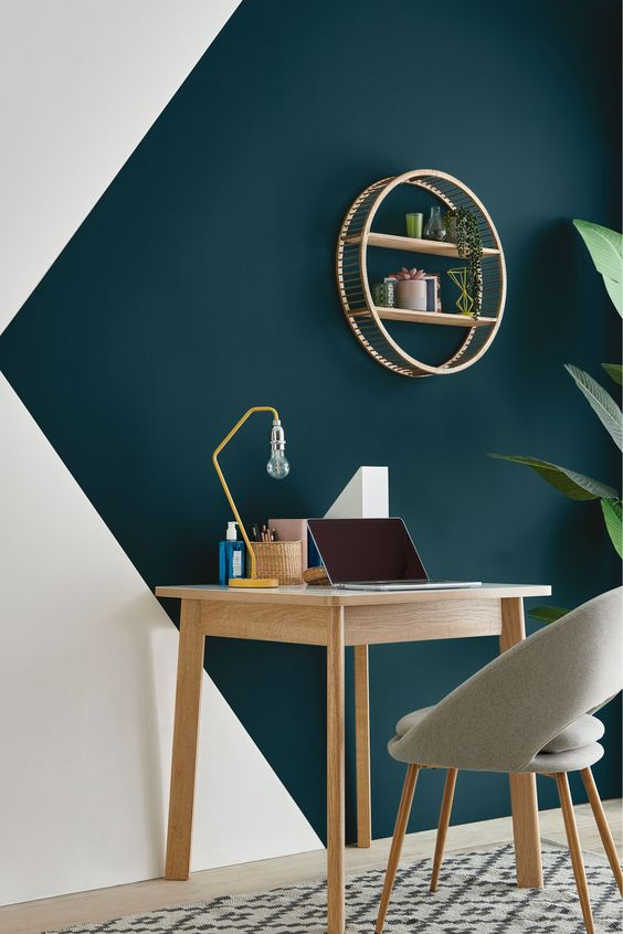 geometric color blocking idea for office space