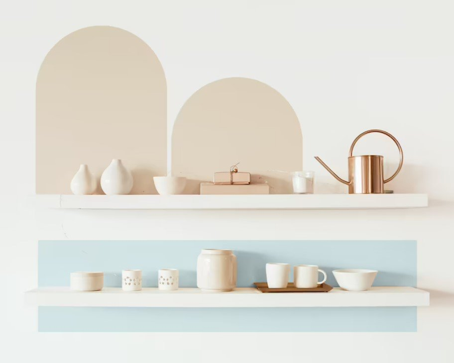 pastel wall decal color blocking shelves