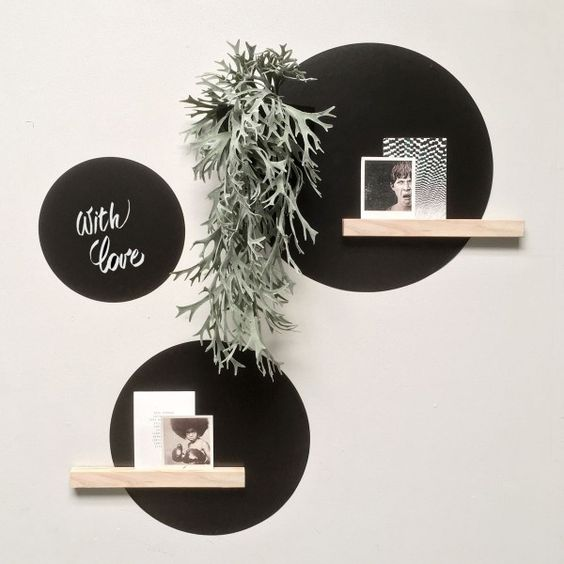 Black wall decal color blocking shelves