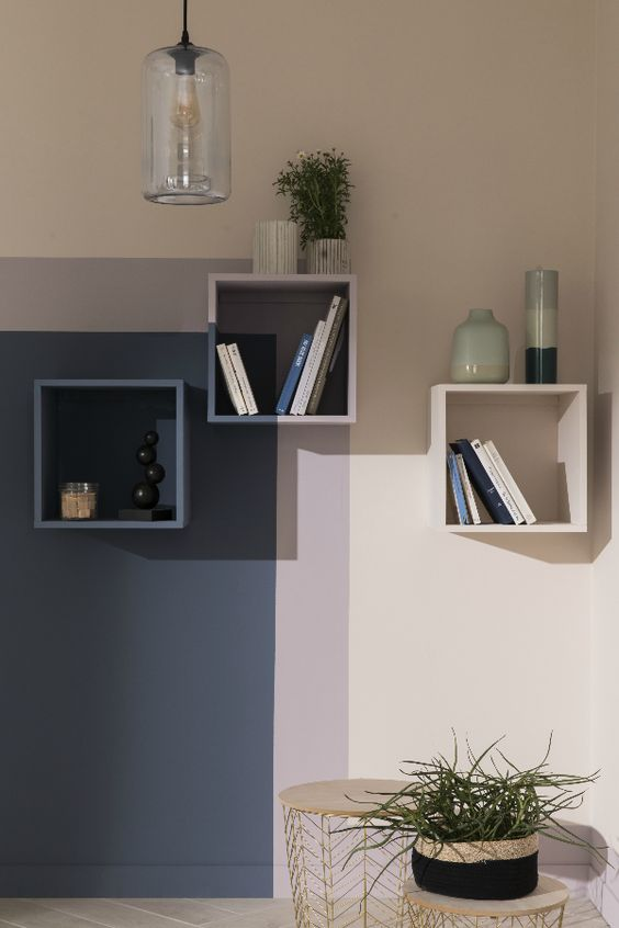 Color blocking ideas for shelves