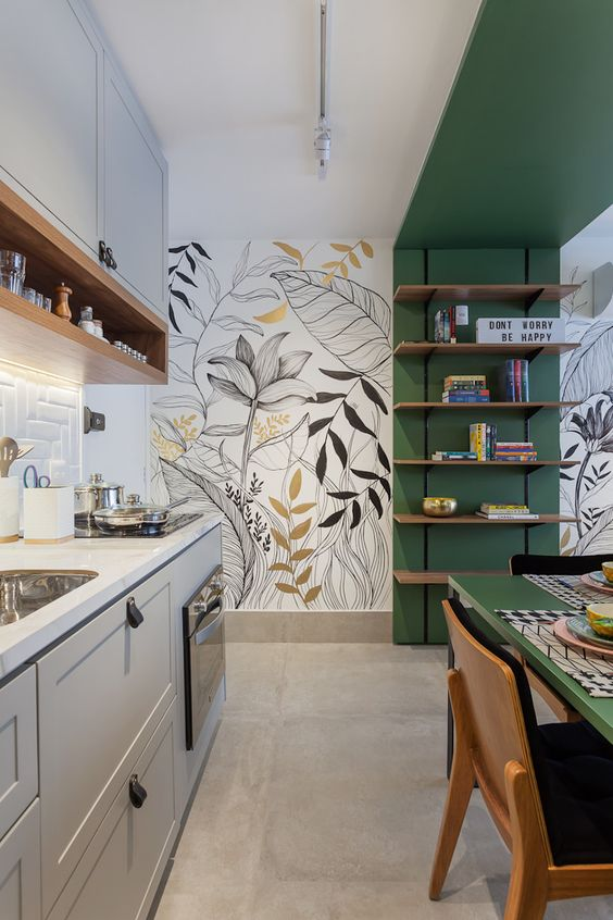 green color blocking idea for kitchen
