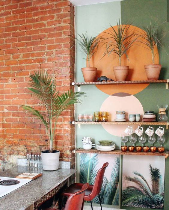 tropical color blocking idea for shelves