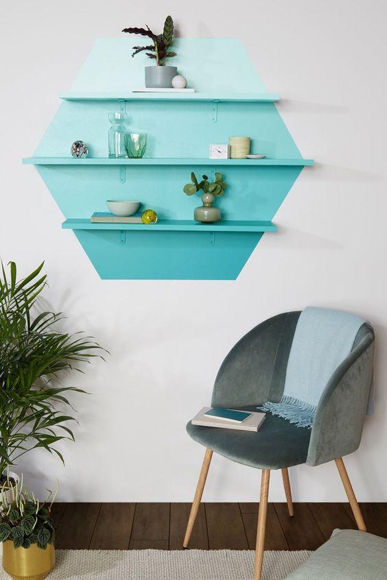 blue ombre color blocking shelves