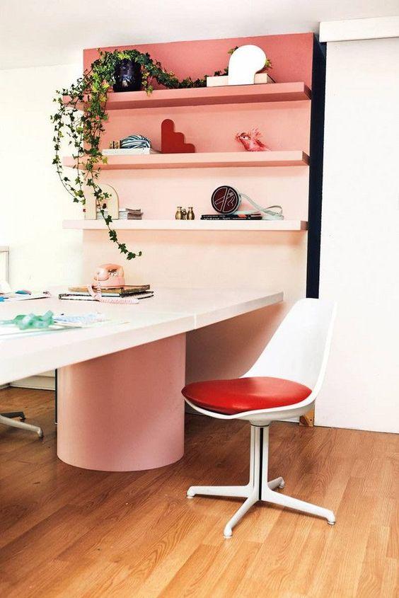pink and black color blocking shelves