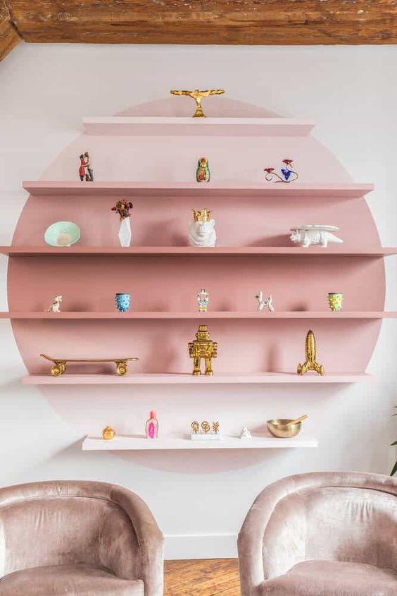 pink ombre color blocking shelves