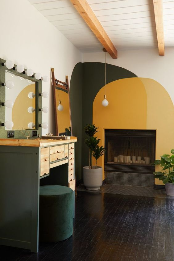 yellow and green oarch color block over fireplace
