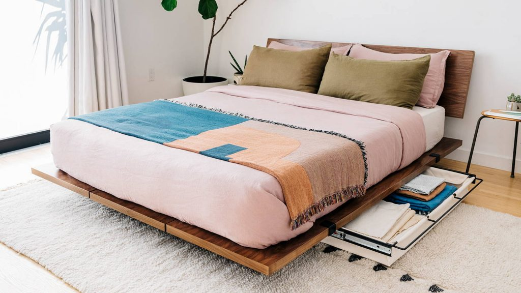 floyd sustainable bed frame with storage underneath.